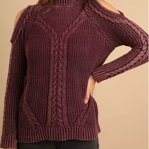 Umgee Cable Knit Cold Shoulder Sweater Acid XL